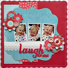 laugh out loud scrapbook page layout Baby Girl Scrapbook, Baby Scrapbook Pages, Kids Scrapbook, Scrapbook Designs, Scrapbook Sketches, Scrapbook Page Layouts, Scrapbook Paper Crafts, Scrapbook Cards, Scrapbooking Ideas