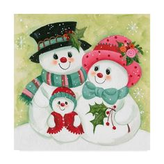 Trademark Fine Art 'Snow Family Canvas Art by Beverly Johnston, Size: 18 x 18 Christmas Door Decorations, Diy Christmas Ornaments, Christmas Snowman, Vintage Christmas, Christmas Wreaths, Merry Christmas, Advent Wreaths, Christmas Tables, Nordic Christmas