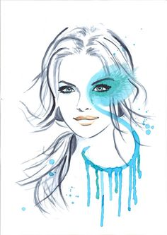 Print from Original Watercolor Illustration Portrait by Mysoulfly, $20.00