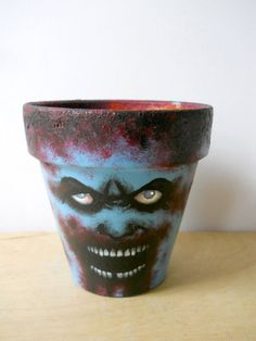 Zombie Head Hand Painted Flower Pot