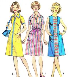 1970s Dress Pattern Simplicity 5624 Front Zip Mod A por paneenjerez