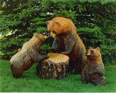 exterieur dekoideen holzfiguren bären garten