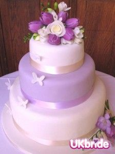 Lilac and Yellow Wedding Cake