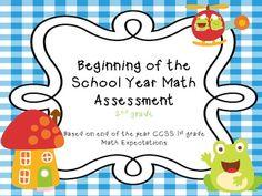 2nd grade Beginning of the Year CCSS Math Assessment
