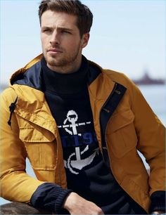 Edward Wilding sports a yellow jacket for Nautica's fall-winter 2017 campaign. Edward Wilding, Senior Boy Photography, Brooklyn Style, Fashion Models, Mens Fashion, Best Shopping Sites, Man Up, Yellow Fashion, Sport Pants