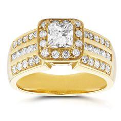 Annello by Kobelli 14k Yellow Gold 1ct TDW Princess Diamond Halo Engagement Ring (H-I, I1 (Size 6), Women's
