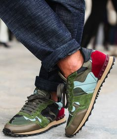Camo-print nylon trainers with multi-coloured panels and rubber spikes on the heel. Be practically stylish in the concrete jungle with these camouflage-print trainers from Valentino. Valentino Camo Sneakers, Valentino Camouflage, Valentino Trainers, Valentino Shoes, Valentino Rockstud, Sneakers Mode, Sneakers Fashion, Fashion Shoes, Mens Fashion