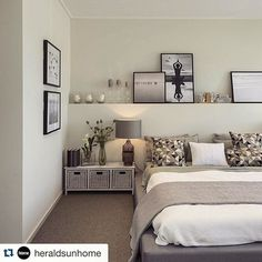 Full width floating shelf above bed via Boutique Homes Victoria