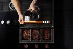 Starbucks redesigns their espresso machines to use gravity for a smoother coffee! Espresso Shot, Cappuccino Machine, How To Make Coffee, Quiet Moments, Experiential, Design Awards, Design Process, Wine Rack, Starbucks