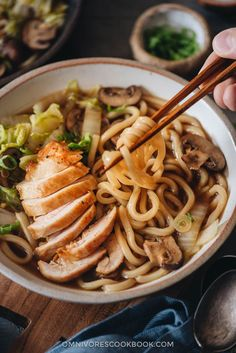 Chicken Udon Soup (鸡肉乌冬面) A one-pot noodle soup that guarantees maximum satisfaction with beautifully charred chicken, rich soup, thick noodles, and tender veggies. Chicken Udon Noodles, Udon Noodle Soup, Asian Chicken Noodle Soup, Asian Soup, Asian Noodle Recipes, Asian Recipes, Yummy Pasta Recipes, Soup Recipes, Snack Recipes