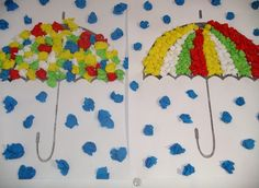 rain and umbrella craft with tissue paper