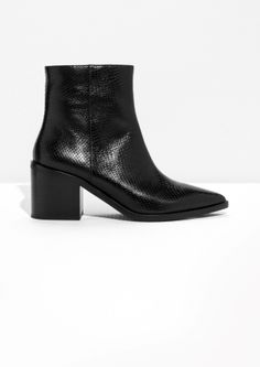 Pointy Block Heel Boots - Black - & Other Stories