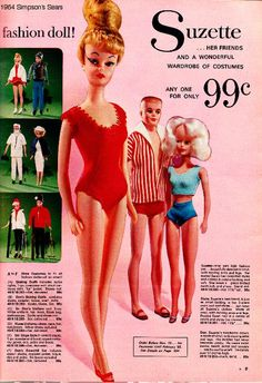 Page from the Simpson's Sears mail-order catalog featuring their catalog-exclusive Suzette fashion doll and her assorted friends and accessories, Canada, 1964, dolls made by Uneeda Doll Company. (An earlier fashion doll by Uneeda using the Suzette name was an exclusive to the American department store W.T. Grant Company.)