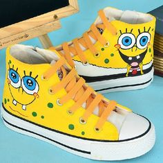 Canvas shoes Children Converse shoes cardtoon  by Kingmaxpaints, $56.00