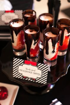 These sweet bloody milkshake shots are a perfect Halloween treat. Your guests will asking for more.