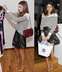 leather skirt, striped tee