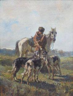 "Rudolf Frentz-""Dismounted Hunter with Dogs"" 1884."