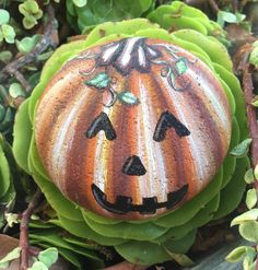 A personal favorite from my Etsy shop https://www.etsy.com/listing/562132129/painted-pumpkin-on-a-rock-halloween-jack