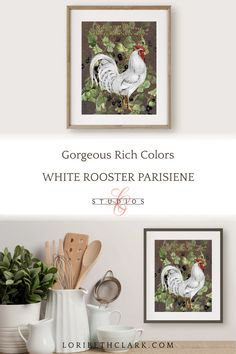 French Country Farmhouse Kitchen Rooster Art Rustic Home | Etsy Farmhouse Wall Art, French Farmhouse, Farmhouse Kitchen Decor, Kitchen Art, Modern Farmhouse, French Country, French Typography, Rooster Art, Rooster Kitchen
