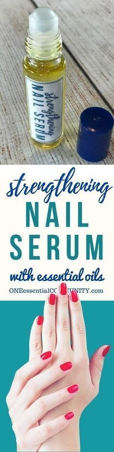 DIY essential oil nail serum for dry, weak, brittle fingernails. Nourishes, strengthens, stimulates healthy nail growth. And it restores moisture to make nails more flexible and resilient. #essentialoils #essentialoilrecipes #nailserum #naturalDIY #essentialoilserum #rollerbottlerecipes