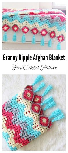 Easy Crochet Afghans - Crochet ripple afghans are a staple part of every crocheter's collection. This ripple afghan is a modern take on a traditional design. Crochet Ripple Afghan, Granny Square Crochet Pattern, Afghan Crochet Patterns, Crochet Afghans, Crochet Blankets, Crochet Granny, Knitting Patterns, Crochet Cushions, Crochet Blocks