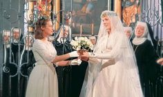 The Sound of Music Maria (Julie Andrews) and Captain Von Trapp (Christopher Plummer) have a big wedding in Austria's Salzburg Cathedral with many of the nuns from Maria's abbey in attendance for her big day. Photo courtesy of Century Fox Movie Wedding Dresses, Wedding Movies, Wedding Attire, Wedding Scene, Wedding Pics, Wedding Gowns, Dream Wedding, Wedding Ideas, Old Movies