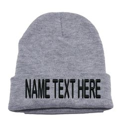 059f1c7344396 Custom Embroidery Personalized Name Text Ski toboggan Knit Cap Cuffed Beanie  Hat Heather Grey CJ1892DZDZI