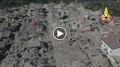 Nelle immagini dei droni dei Vigili del Fuoco la distruzione di Amatrice, già piegata dal sisma di agosto, dopo i nuovi crolli causati dalla...