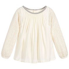 20% off your order with code CSDG1RC https://www.childrensalon.com/new-in/#a_aid=51f456f914eb5 A must-have staple for the coming season, this ivory blouse by Chloé can be worn both casually or to smarter occasions. The amazing cutwork lace on the arms gives a feminine, delicate feel, even though it is made in a soft and cosy viscose/wool blend and is fully lined.
