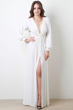 Deep V-Neck Slit Dress