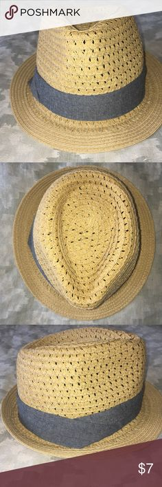 Straw Fedora with Denim Ribbon This straw fedora with denim ribbon is the perfect accessory for an outdoor adventure on a sunny day! This went with me on a trip to Cabo and made it back in  perfect shape. Firm price. Accessories Hats