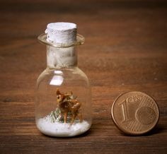 Miniature Glass Bottle with Fawn for Your Dollhouse by DinkyWorld