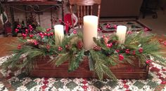 This could be cheap without candles and a day trip to CA to cut our own evergreens. Another idea-a bowl of salt covered pine cones Another idea-a bowl if bendable twigs with wax dripped on them to look like ice