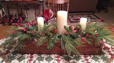 32 Creative Ways Christmas Centerpiece Ideas Table Diy 55 Christmas Table Centerpieces, Christmas Arrangements, Christmas Tablescapes, Xmas Decorations, Centerpiece Ideas, Christmas Candles, Centrepieces, Primitive Christmas, Country Christmas