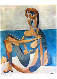 Picasso Art - Seated Bather - 1980 Vintage Book Page - Pablo Picasso Masterpiece Painting Georges Braque, Modigliani, Magritte, Pablo Picasso, Cubist Movement, Guernica, Chagall, Spanish Painters, Plastic Art