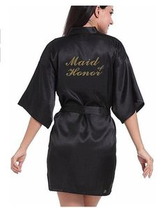 ab536bc6f9 RB91 2017 Fashion Silk Bride of Mother Robe with Gold Letter Sexy Women  Short Satin Wedding
