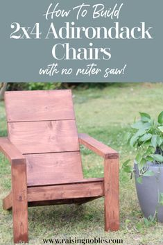 In this tutorial we are sharing with you how we used Ana White's modern adirondack plans to make these beautiful, comfortable and stylish adirondack chairs. Adirondack Chair Plans, Plastic Adirondack Chairs, Outdoor Furniture Design, Diy Furniture Projects, Diy Wood Projects, Diy Patio Furniture 2x4, Farmhouse Adirondack Chairs, Garden Furniture, Farmhouse Furniture