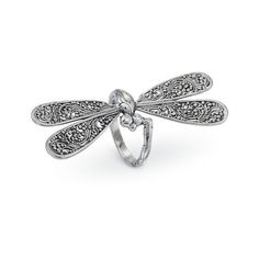 Sterling Dragonfly Ring Size 10 (£20) ❤ liked on Polyvore featuring jewelry, rings, sterling silver dragonfly ring, sterling silver wing ring, sterling silver dragonfly jewelry, sterling silver jewelry and sterling silver jewellery