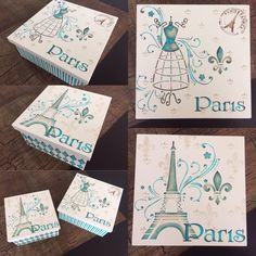 #CaixasDecoradas #CaixasDecorativas #CaixaParis #ParisBox #MDFDecorado #Decoração #Stencil #pinturacomstencil #CaixaPortaTrecos #PortaTreco