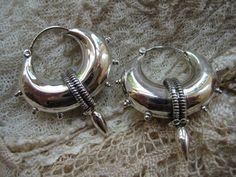 Tribal Earrings, Sterling Silver Hoop Earrings, Spike Hoop Earrings, Indian Earrings, Tribal Jewellery, Ethnic Earrings, Silver Jewellery