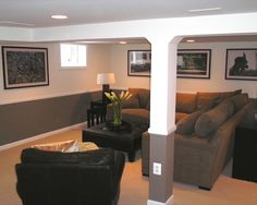 hiding the ducts and pole  Traditional Basement Small Basement Remodeling Ideas Design, Pictures, Remodel, Decor and Ideas - page 15