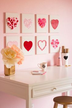 Raid your craft supplies to make this heart art for Valentine's Day
