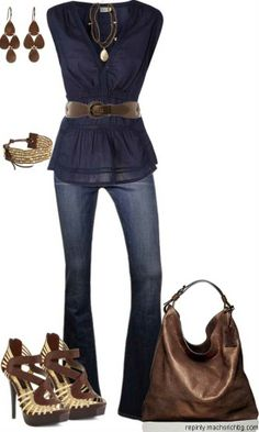 Navy and brown outfit. I like this outfit, but I would wear different heels
