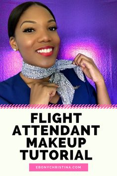 Flight Attendant Makeup Tutorial - Learn how to get the perfect Flight Attendant look with winged eye-liner, false lashes and red lipstick!