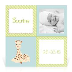 Faire-part naissance Sophie la girafe Promenade - Cardissime - Un faire-part simple aux tonalités du jardin de Sophie la girafe.