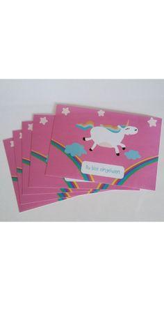 Kindergeburtstag - Einladungskarten Einhorn, 5tlg - ein Designerstück von TinesTinyThings bei DaWanda