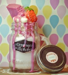 Mason Jar Strawberry Milkshake Candle -  available at my etsy shop (Lillywitch Hollow)