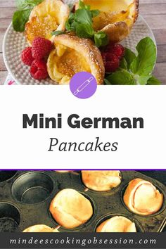 Check out these super cute mini german pancakes! Drizzle with syrup, sprinkle with powdered sugar, or eat'em with fruit! Delicious any way you want them! Mini German Pancakes, German Pancakes Recipe, Pancakes And Waffles, Pancake Muffins, Breakfast Bread Recipes, Breakfast Dishes, Brunch Recipes, Appetizer Recipes, Powdered Sugar