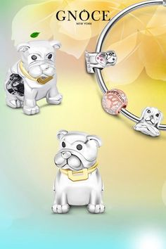 Real S925 Sterling Silver Pendant Bulldog Dog Charm For Girl Bracelet Necklace