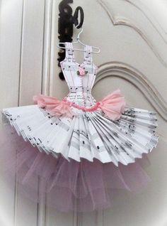 A paper dress, how cute.